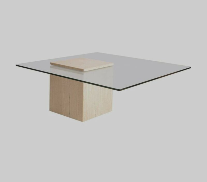 Roche Bobois  Style  Italian Travertine  Marble Glass Coffee Table