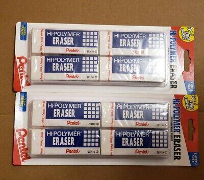 Pentel Hi-polymer Non-abrasive Block Eraser 4 Pcs X 2 Packs Latex-free In Box