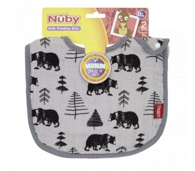 Nuby+Muslin+Snug+N+Dry+Bibs%2C+Pack+of+2+Grey+Bears+And+Arrow+Brand+New+From+Birth
