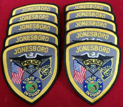 JONESBORO INDIANA IN Trade Stock 10 police patches POLICE PATCH