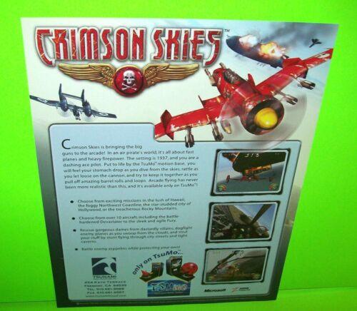 Crimson Skies Arcade FLYER Tsunami 2002 Original NOS Video Game Artwork Sheet