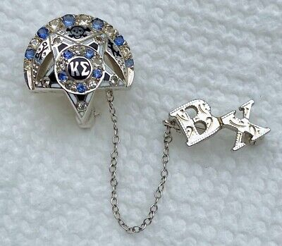 Kappa Sigma 10K White Gold Beta Chi Chapter Fraternity Sapphire Pin Vintage
