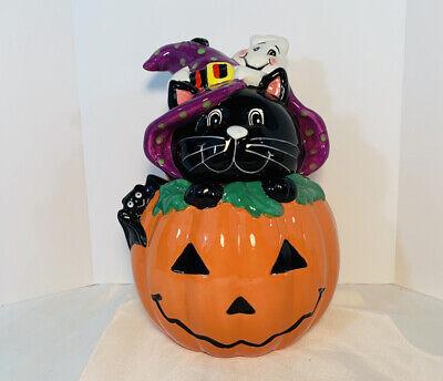 Halloween Cat In A Pumpkin Cookie Jar