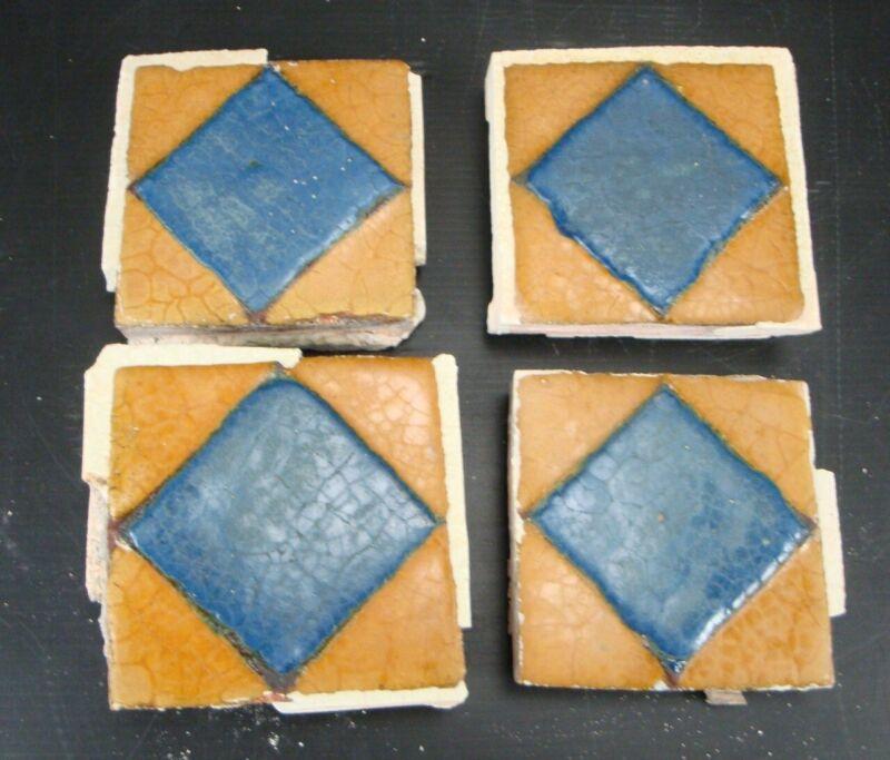 "(Set of 4) VERY RARE - Grueby Pottery Tile - (2 COLORS) - GEOMETRICS - 4"" x 4"""
