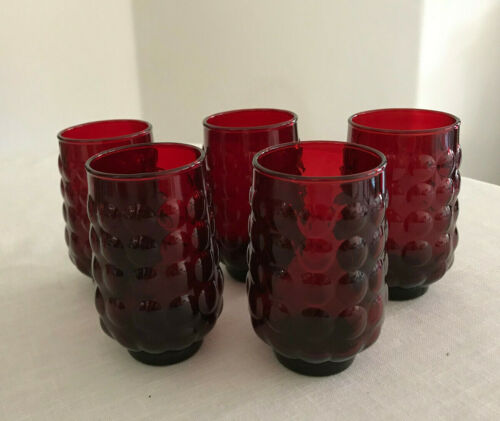 Anchor Hocking RUBY RED Bubble Juice GLASSES Set of 5 MINT!