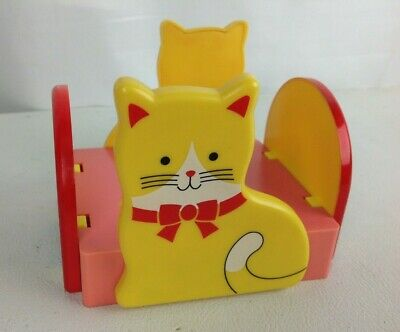 Vintage Desk Post-it Note Paper Caddy Holder Kitty Cat Rainbow 1980s Retro
