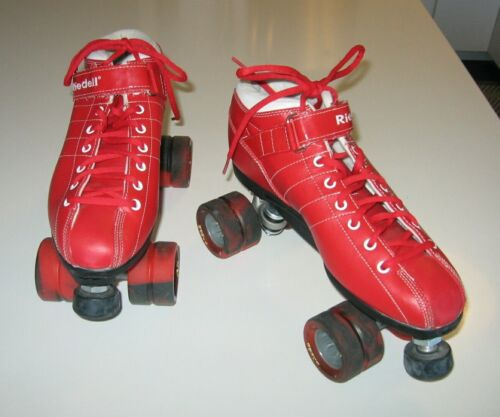 RIEDELL Diablo Red PVC Lace Up Speed Roller Skates size 11