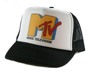 d5e48d3b5602c1 Vintage Mtv music television Trucker Hat mesh hat snapback hat black new