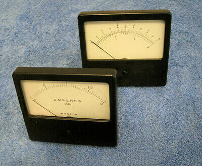 Pair Vintage Weston Dc Meter Ammeters 0-1 0-2 Rectangle Panel Mount Amperes