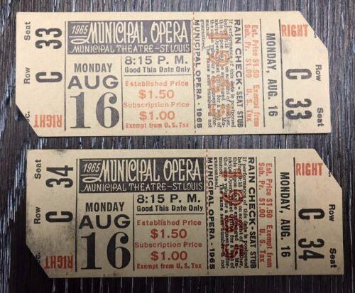 Vintage Set of 2 Ticket Stubs THE MUNY St Louis Municipal Opera August 16, 1965