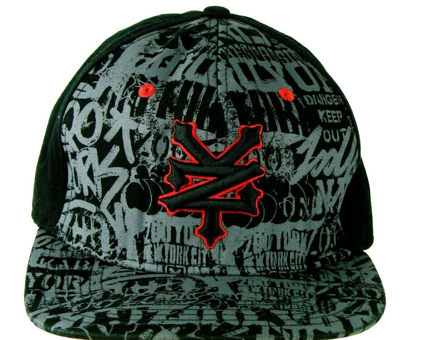 ZOO York Mens Snapback Adjustable Cap Hat Black Gray Graphic Cotton - $19.97