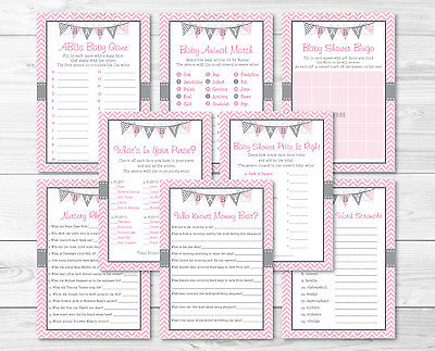 Modern Baby Shower Games (Modern Pink Chevron Baby Shower Games Pack - 8 Printable Games )