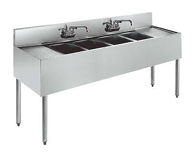 "Krowne Metal 4 Compartment Stainless Bar Sink 19""D w/ Two 12"" Drainboards"