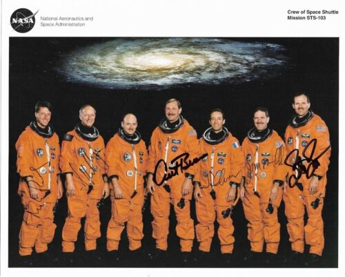 STS-103 Crew Photograph Signed by Astronauts Foale, Nicollier, Brown, Clervoy, G