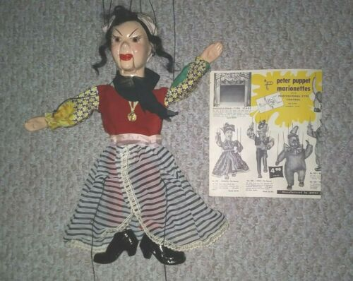 PETER PUPPET NO 701 CHIQUITA DANCER WITH PAMPHLET 1952 PRO STYLE MARIONETTE