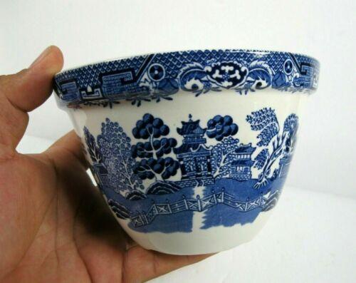 BLUE WHITE WILLOW England small flower pot planter ceramic bowl