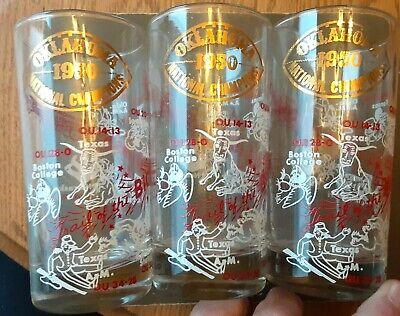 Set of 3 1950 Oklahoma Sooners  National Football Champions Glasses Oklahoma Sooners Glass