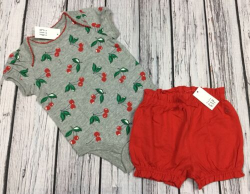 Baby Gap Girls 6-12 Months Outfit. Cherry Shirt & Red Bloome