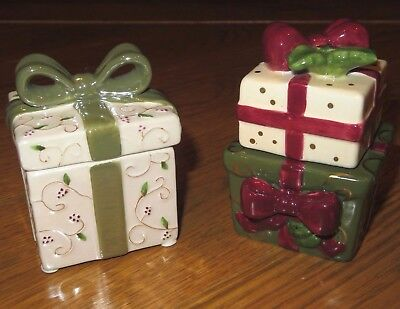 YANKEE CANDLE Porcelain PRESENT/Bow BOXES w/ LIDS Set of 2 TEALIGHT Holders