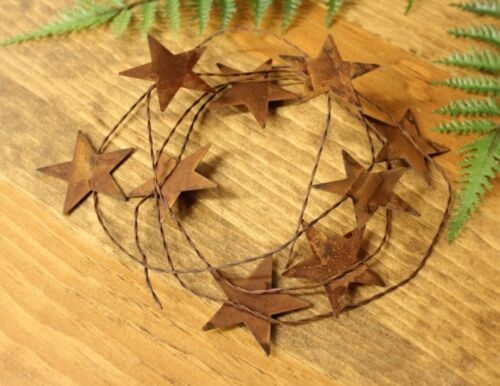 """72"""" rustic wire garland with 9 2.25"""" Rusty Tin Stars Primitive home decor"""