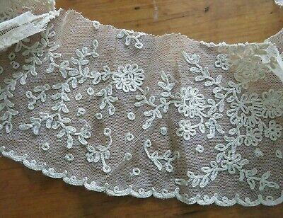 Antique Trim Net Lace Metallic Embroidered Edwardian 1910s Belgium #1