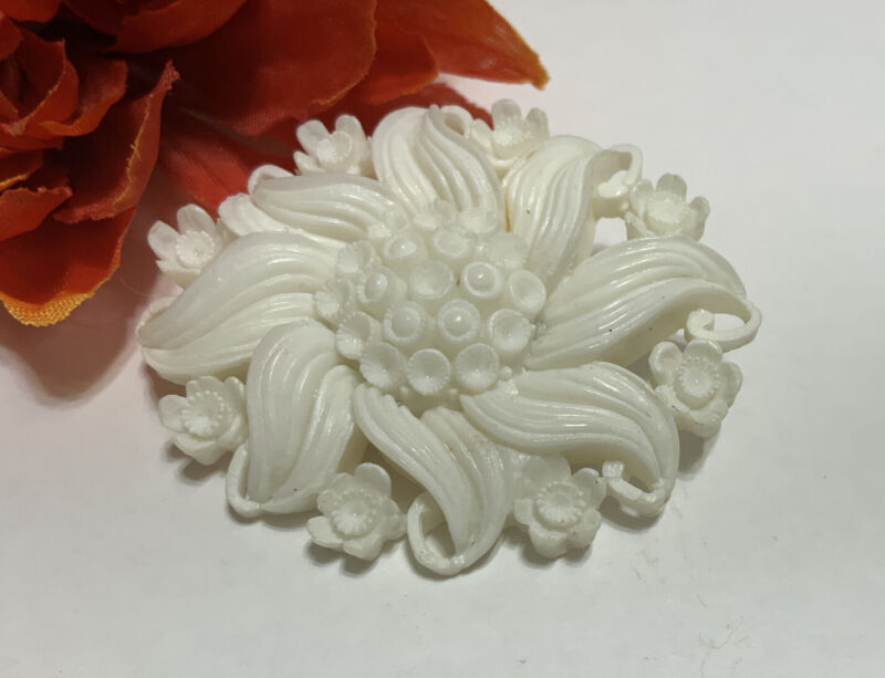 Vintage Brooch Pin Carved White Feather Lite / Celluloid Flower Delicate