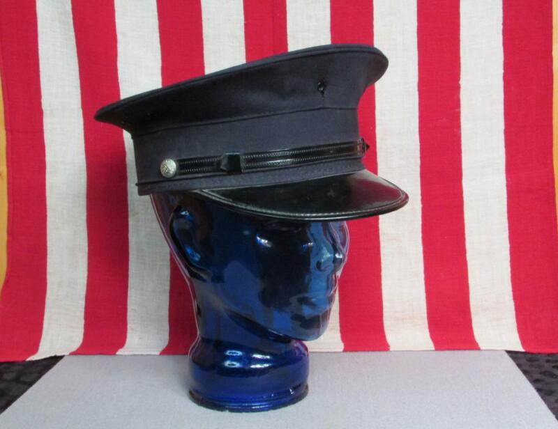 Vintage 1960s Firefighters Captain Hat Visor Cap 7 1/4 Fire Dept. Wilmington,Del
