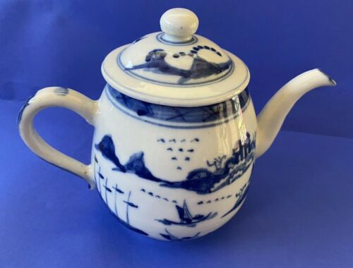 Nice Antique Chinese Canton Blue White Teapot