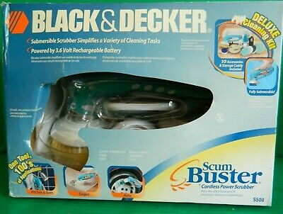 BLACK & DECKER SCUM BUSTER CORDLESS POWER SCRUBBER, S500 W/ DELUXE CLEANING