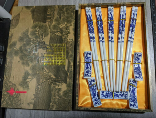 White Blue Porcelain Chopsticks with Porcelain Rests Set of 5 Pairs In Gift Box