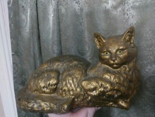 Vintage Folk Art Primitive Cat Sculpture Spooky Face Halloween Marsh Industries - $99.00