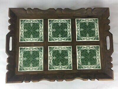 Antique Tile Serving Tray Carved Brown Wood 6 Ceramic 12