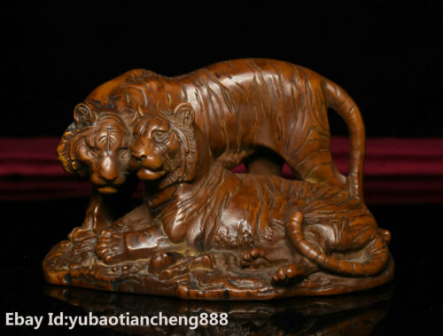 Collect China FengShui Boxwood wood Carved Two Zodiac Tiger Beast animal Statue