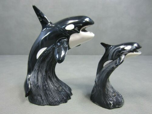 Pair of Cultured Black Onyx Orca Whale Sculptures by Cook Company