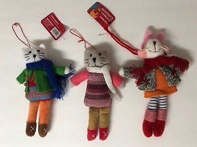 """3 World Market ANIMAL KINGDOM Cats & Bunny 6-7"""" Christmas ornaments ()"""
