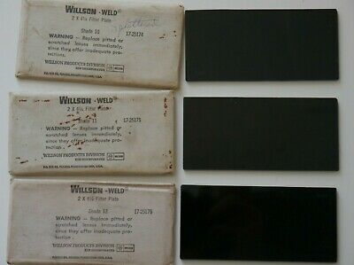Vintage Lot Of 3 Wilson-weld 2 X 4 14 Filter Plates Shade 10-11-12