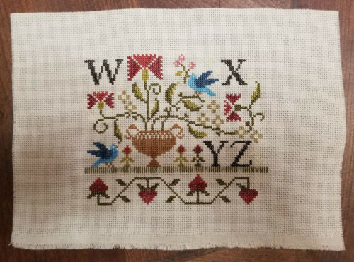 finished cross stitch sampler alphabet with thy needle and thread schoolhouse 5