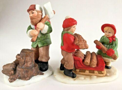 Lot Vtg Lefton Colonial Village Man Chopping Wood Kids Loading Sleigh 07327