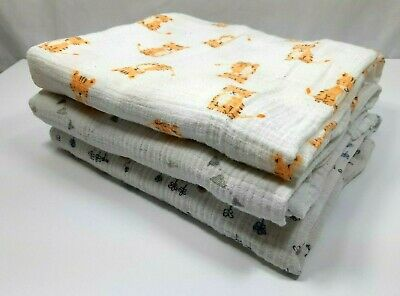 Aden and Anais Swaddle Blankets Set of 3 - 47 x 47 Tiger Cat Flowers Baby