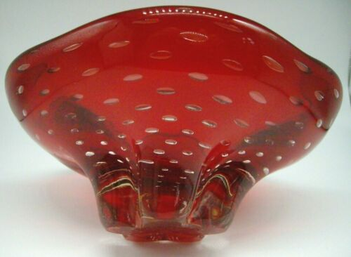 Whitefriars Geoffrey Baxter vintage 1957 Pattern 9428 ruby glass lobed Bowl