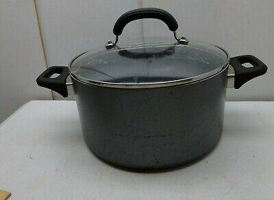Meyer Anolon Anodized Nonstick 6 Qt Stock Bean Pot Pan Dutch Oven & Lid Black Anolon Non Stick Stock Pot