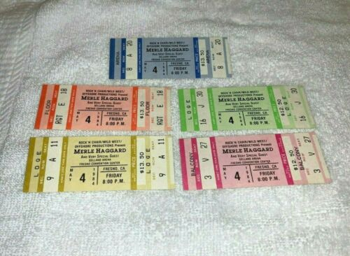 THE MERLE HAGGARD SHOW 5 UNUSED 1984 CONCERT TICKETS FRESNO CALIFORNIA USA mix