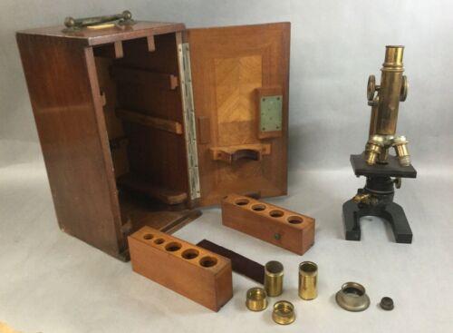 E Leitz Wetzlar Microscope Antique w/ Wooden Box Germany Very Good