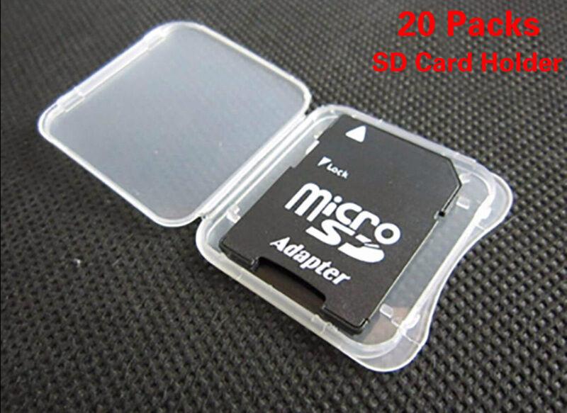 WOVTE SD Card Holder, Plastic SD MMC SDHC PRO Duo Memory Card case Holder 20PCS