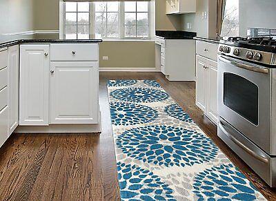 Throw Rug Long Runner Floral Living Room Kitchen Hall Entry Area Floor Mat Blue ](Long Carpet)