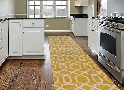 Throw Rug Yellow Modern Long Runner Living Room Kitchen Entry Area Floor Mat ](Long Carpet)