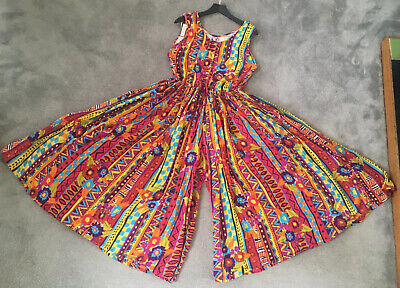 Vintage Colourful Jazzy Cullotte Jumpsuit 14, Yessica, C&A, Multicoloured
