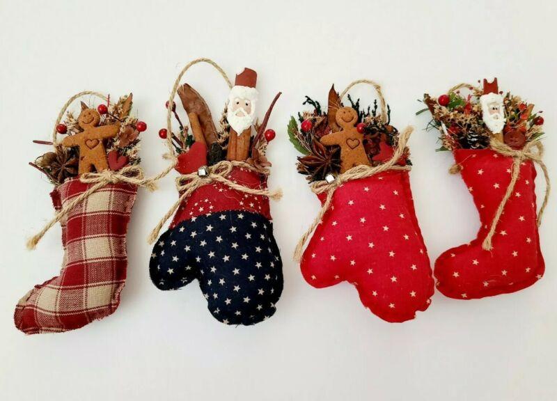 Vintage Christmas Ornaments Stocking Gloves Santa Gingerbread Man Soft Stuffed
