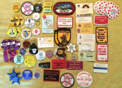 Huge Collection of Lions Club Items Pins, Patches Election Buttons, Lapel Pin