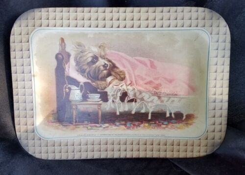 1885 Die Cut Trade Card Tray Great Atlantic Pacific Tea A & P Dog Sick Bed